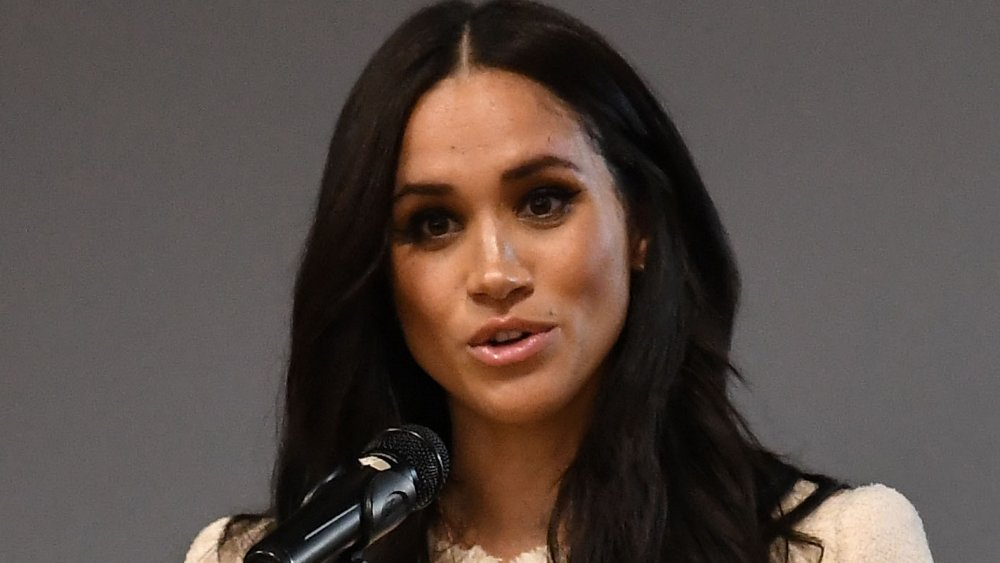 Meghan Markle speaking at a school assembly in 2020