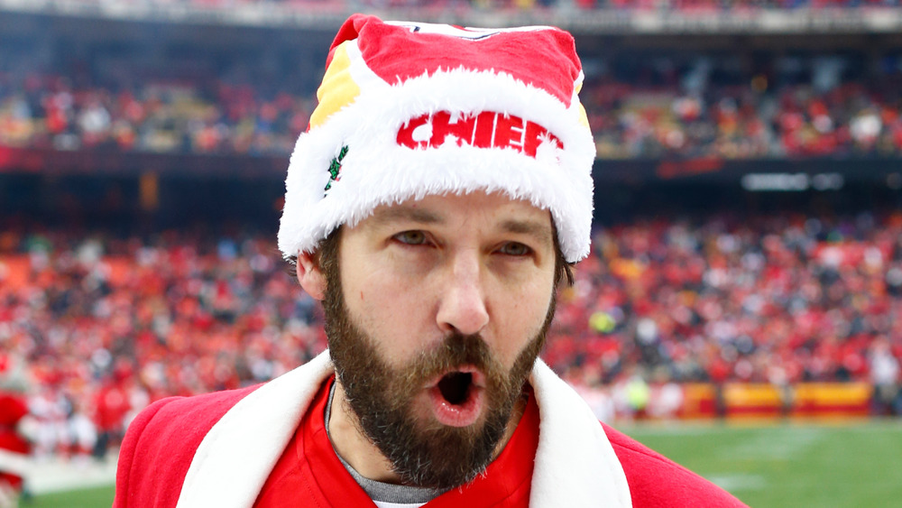 Paul Rudd cheering on the Kansas City Chiefs