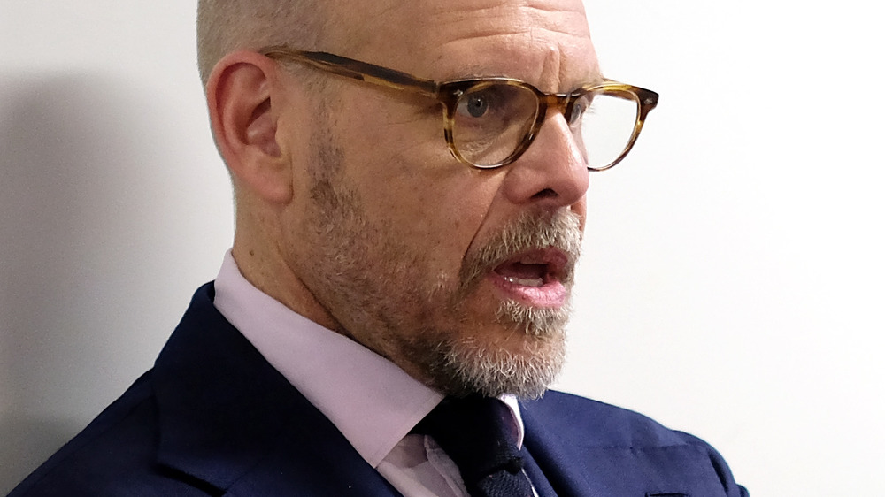 Alton Brown with his mouth open