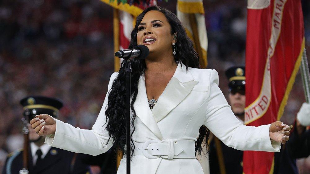 Demi Lovato performing at Super Bowl LIV
