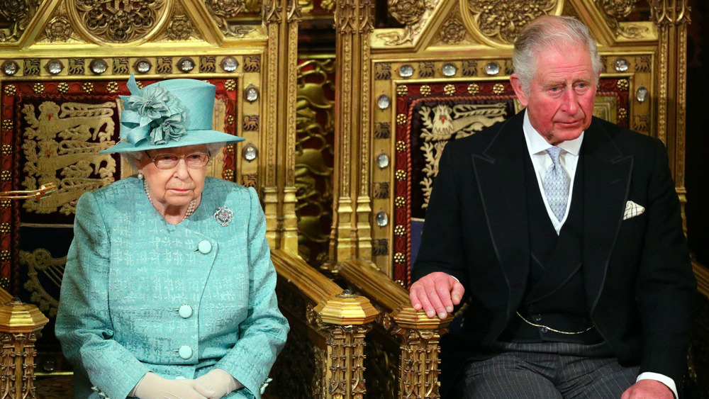 Queen Elizabeth and Prince Charles thrones