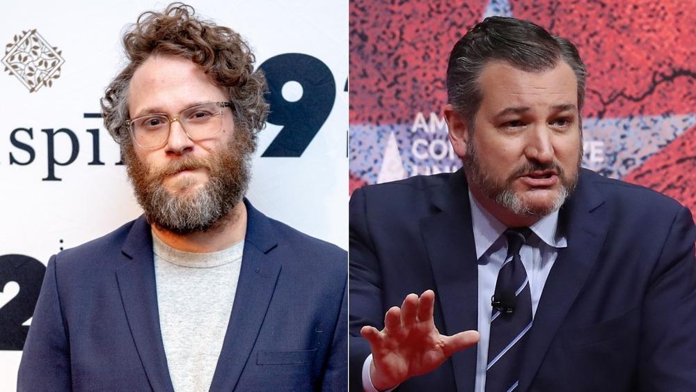 Seth Rogan and Ted Cruz side by side