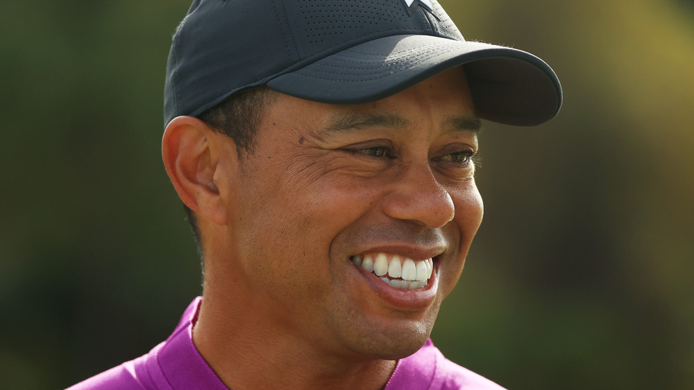 Tiger Woods smiles