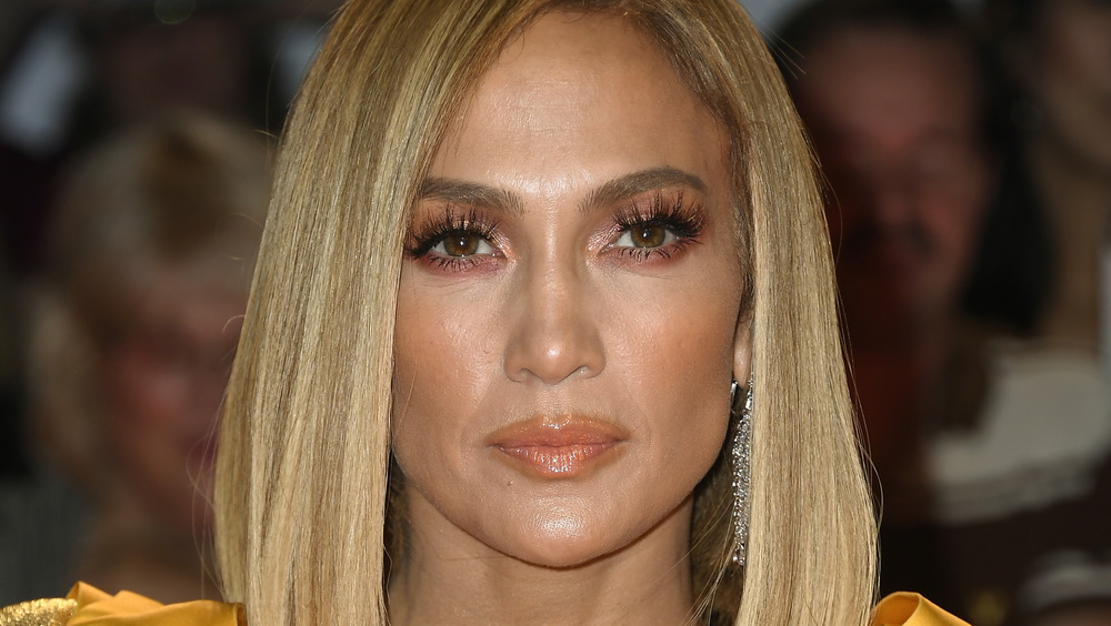 Jennifer Lopez looking serious at an event