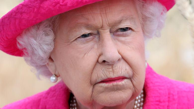 The queen looking disgruntled