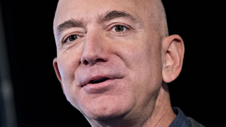 Jeff Bezos speaks at an event in 2019