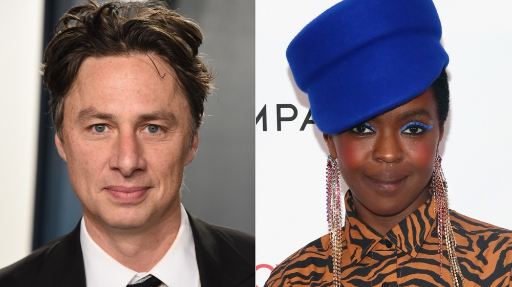 Zach Braff and Lauryn Hill posing on the red carpet